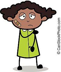 blessé, bureau, -, illustration, triste, personne, vecteur, noir, retro, girl, dessin animé