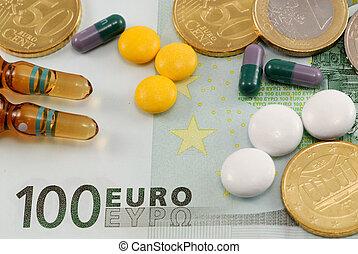 blessé, concept, économie, currency., pilules, cout,...