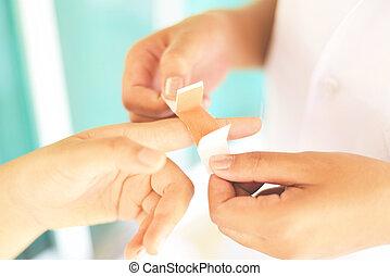 blessé, concept, -, blessure, premier, bander, santé, doigt, médecine, aide, infirmière, blessure, soin