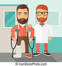 blessé, docteur., aidé, homme