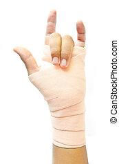 blessé, emballé, mâle, bandage, main