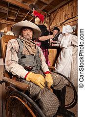 blessé, fauteuil roulant, cow-boy