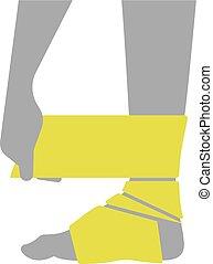 blessé, plat, jambe, bandage, pied, ou, icône