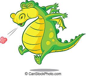 vector illustration of a sneezing dragon
