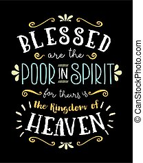 Blessed are the Poor in Spirit Hand Lettering Poster