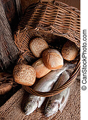 Blessed food - Religious still life of loaves of bread,...