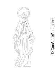 Blessed Virgin Mary in black and white contour drawing