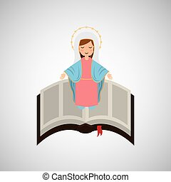 blessed virgin mary with bible design