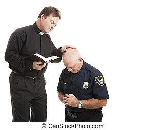 blesses, prêtre, policier