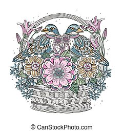 blessing bird coloring page with floral elements in...