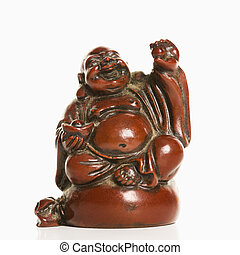 Blessing Buddha. - Happy laughing Buddha figurine with hand...