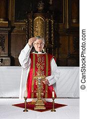 Blessing during catholic mass