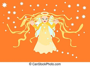 Blessing guardian angel to fiery orange sky