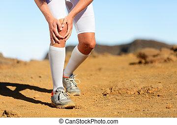 blessure, douleur, coureur, -, courant, genou, mâle