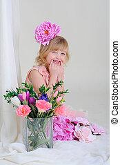 blesyatschimi, yeux, fleur, elle, cheveux, dents, girl, gentil