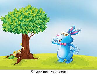 bleu, à côté de, arbre, lapin