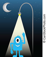 bleu, à poil, une, rue, observé, créature