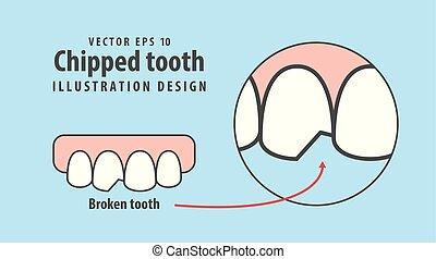 bleu, ébréché, dentaire, illustration, dent, arrière-plan., vecteur, concept.