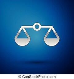 bleu, échelle, tribunal, balances, justice, signe., isolé, illustration, symbole., arrière-plan., vecteur, équilibre, argent, droit & loi, icône
