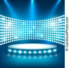 bleu, éclairé, fête, lumières tache, podium, brillant, étape