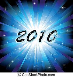 bleu, éclater, fond, année, nouveau, 2010