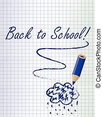 bleu, école, dos, fond