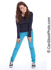 bleu, école, jean, adolescent, amusement, girl, heureux