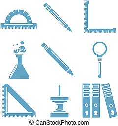 bleu, école, linéaire, lumière, icons., partie, noir, 3., marchandises