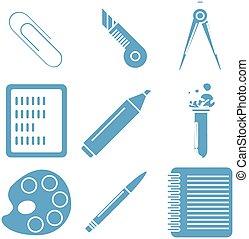 bleu, école, linéaire, lumière, icons., partie, noir, marchandises, 2.