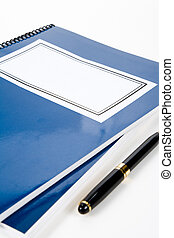bleu, école, manuel
