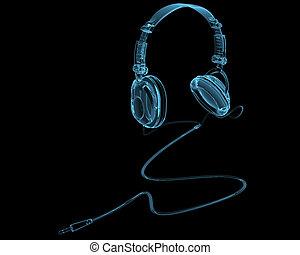 bleu, écouteurs, isolé, noir, transparent, rayon x