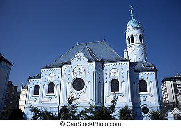 bleu, église
