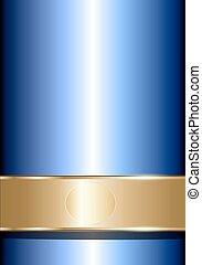 bleu, élégant, or, fond