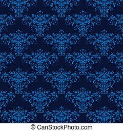 bleu, élégant, seamless, fond, damassé