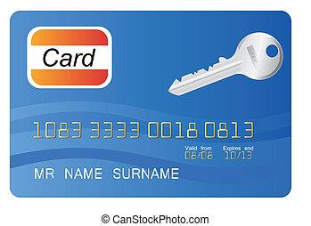 bleu, élément, crédit, vecteur, carte principale