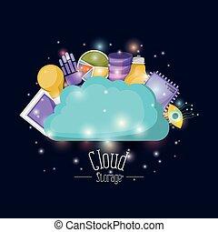 bleu, éléments, coloré, luminosité, couleur, stockage, sombre, avenir, technologie, fond, nuage