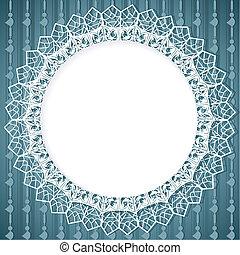 bleu, éléments, dentelle, vertical, fond, napperon, blanc