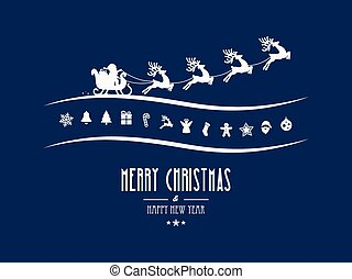 bleu, éléments, fond, joyeux, santa, traîneau, noël