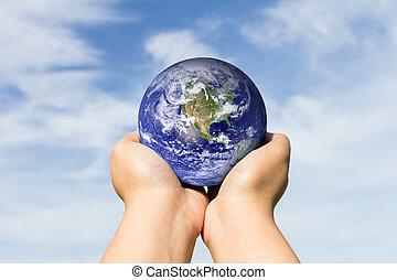 bleu, éléments, meublé, ceci, image, sky., nasa, tenant mains, la terre, nuage