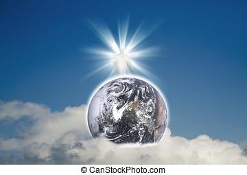 bleu, éléments, nuages, christ, meublé, ceci, nasa), image, earth(earth, ciel, jésus, planète, blanc