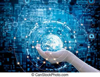 bleu, éléments, réseau, meublé, ceci, résumé, global, sombre, arrière-plan., connexion, nasa, tenant mains, cercle, image