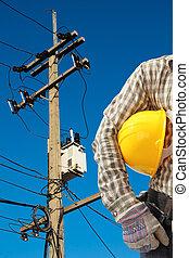 bleu, électricien, électrique, ouvrier, travail, ciel, contre, fond, poste