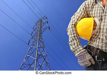 bleu, électricien, puissance, ciel, contre, haute tension, pylône
