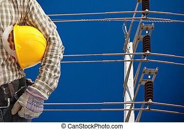 bleu, électricité, ciel, élevé, poteau, tension
