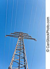 bleu, électricité, ciel, haute tension, tour