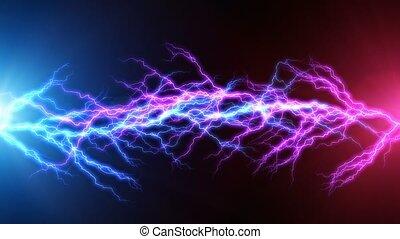 bleu, électrique, éclair, arc, décharge, rouges
