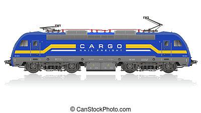 bleu, électrique, locomotive