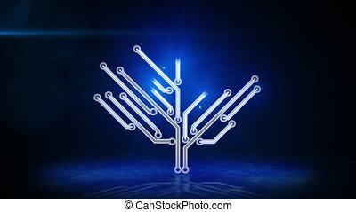 bleu, électronique, arbre, planche, circuit