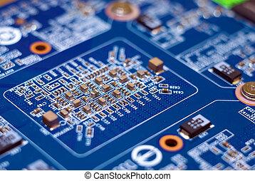 bleu, électronique, device., plaque., pc