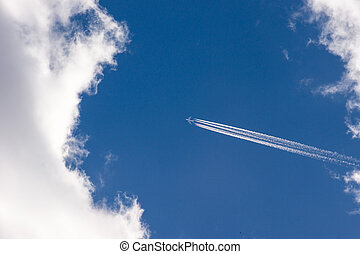 bleu, élevé, avion, voler, ciel